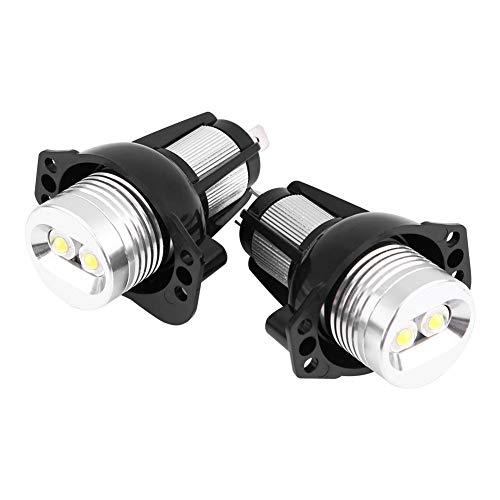 Qiilu 2 piezas de luz LED de ojos de ángulo de 12 W, luz de marcador de anillo de halo de ojos de ángel LED de coche para lámparas de automóvil E90 E91 05-08