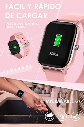 AIMIUVEI Smartwatch, Reloj Inteligente IP67 con Pulsómetro, Presión Arterial, 7 Modos de Deportes y GPS, Monitor de… 3