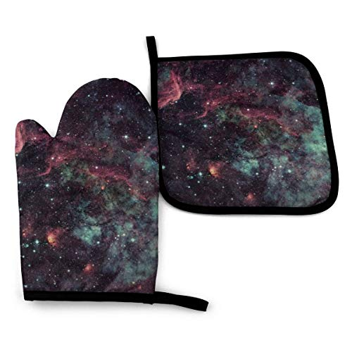 Abucaky Galaxy Universe Space Black Oven Mitts and Pot Holders Insulated Gloves & Kitchen Counter Safe Mats for Cooking BBQ Baking Grilling (2-Piece Set)