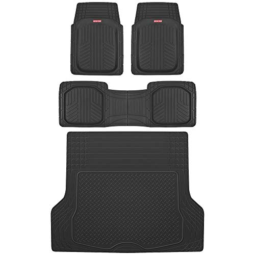 Motor Trend MT-933 Deep Dish FlexTough Rubber Car Floor Mats, Universal Front & Rear Combo Set with Trunk Cargo Mat Liner for Car Sedan SUV Van, Heavy Duty All Weather Trim to Fit