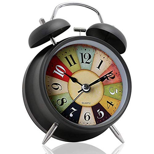 Koyet 4 inches Twin Bell Alarm Clock,Rainbow Glitter Vintage Desk Clock,Backlight, Battery Operated Loud Alarm Clock (Black)