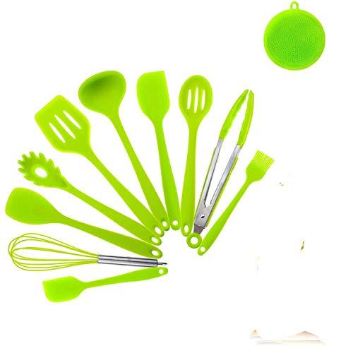 CRESTGOLF Juego de utensilios de cocina de silicona, 11 Uds, Espátula para cocinar, herramientas resistentes al calor, utensilios de cocina antiadherentes que no se rayan(green)