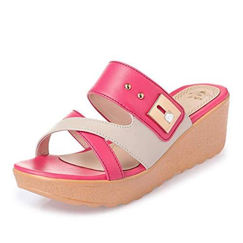 Punta abierta de zapatillas de casa, tirón de las mujeres ropa exterior fracasos a media ladera red_38 la plataforma del talón sandalias de rosa, sandalias del dedo del pie junto a la piscina profesio