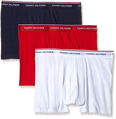 Tommy Hilfiger Herren Boxershorts 3er Pack, Einfarbig Gr. XXXX-Large, Mehrfarbig - (Tango Red Pt/White/Peacoat Pt)