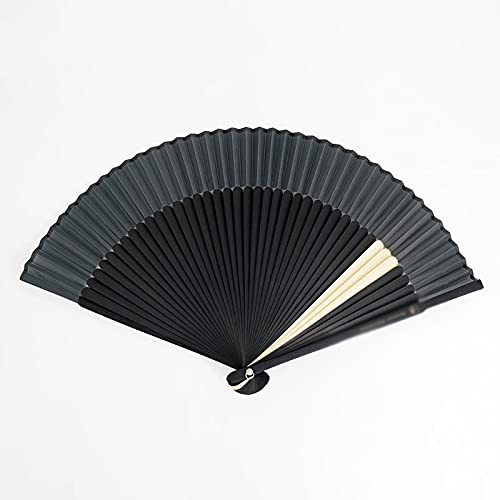Xushiwanju Accesorios de verano para mujer, abanico plegable con temperatura digna, color negro, contraste blanco, elegante, hermosas, decoraciones