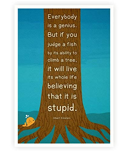 LAB NO 4 Everybody is a Genius Albert Einstein Motivational Quote Poster in (12 X 16) Size