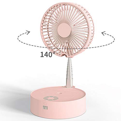 AN Zusammenklappbarer Mini-Teleskopventilator USB Wiederaufladbarer Student Tragbarer Abnehmbarer Elektrischer Schlafsaal Bett Desktop Big Wind,Rosa