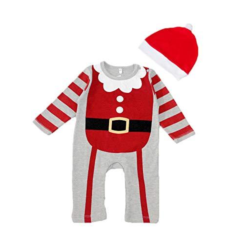 YWLINK Ropa De Bebe ReciN Nacido Traje De Navidad Navidad Dibujos Animados Sombrero Gorro Mameluco Mono Mono Mezcla De AlgodN Pijama Suave Y CModo 0-24 Meses Disfraz Divertido Lindo Juego De Roles