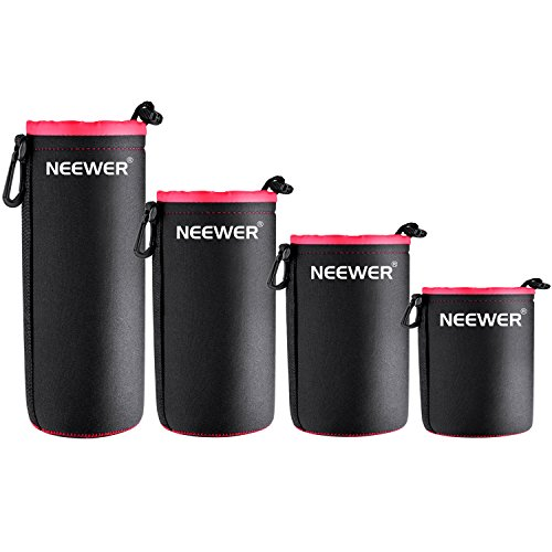 Neewer 4-Pack Protective Lens Neoprene Pouch Set: Small, Medium, Large and Extra Large Pouches (Red)
