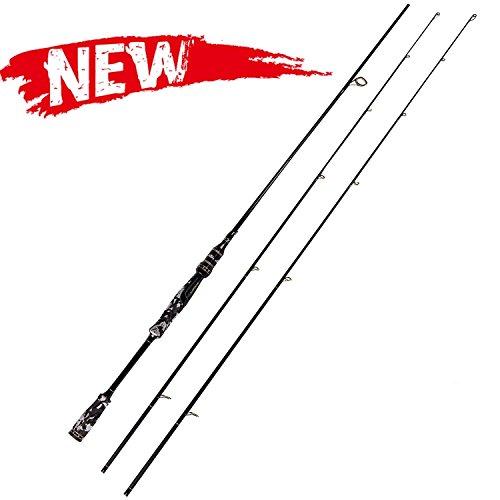 ENTSPORT Camo Legend 2-Piece 7-Feet Spinning Rod 24 Ton Carbon Fiber Spincasting Fishing Rod with 2 Tips - Medium and Medium Heavy Portable Spin Bass Fishing Rod