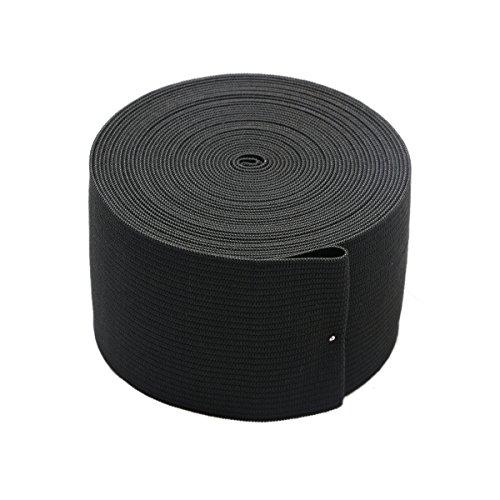 2-inch Black Knit Elastic Spool Wide Heavy Stretch Elastic Band,5 Yards