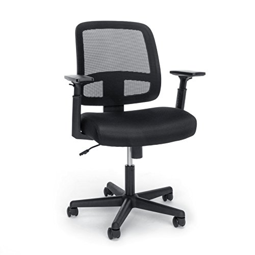 OFM Essentials Collection Mesh Back Chair with Adjustable Arms, in Black