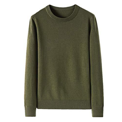 Suéter de los hombres de la Felpa engrosada de invierno de punto base de color sólido Pullover casual cuello redondo suéter