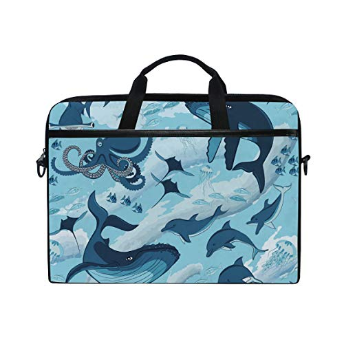 EZIOLY Marine Shark Whale Octopus Dolphin Jellyfish Laptop Shoulder Messenger Bag Case Sleeve for 13 Inch to 14 inch Laptop