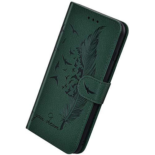 Herbests Kompatibel mit Samsung Galaxy A10 Hülle Ledertasche Vintage Feder Vogel Muster Schutzhülle Brieftasche Klapphülle Dünne Lederhülle Wallet Handyhülle mit Kartenfach Ständer,Grün