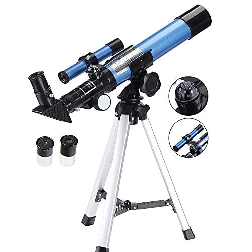 AOMEKIE Télescope Enfant 400/40mm Lunette Astronomique avec Deux Oculaires Trépied et Chercheur pour Débutants et Amateurs comme Cadeau de Noël