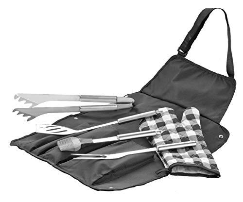 6-delige Grillbestek Kentucky van roestvrij staal 18/0 best. Uit: 1 grill-/vleesvork, spatel, tang kwast van siliconen, handschoen van katoen en