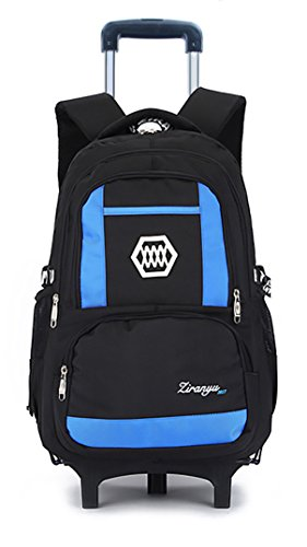 Meetbelify Kids Rolling Backpacks Luggage Two Wheels Unisex Trolley School Bags Blue