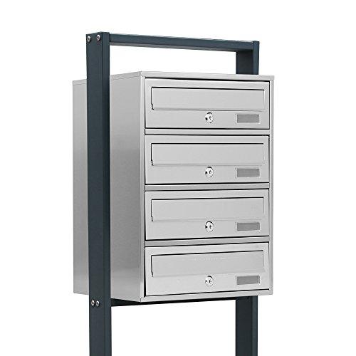 BITUXX® Design Edelstahl Stand-Briefkastenanlage Postkasten Letterbox Mailbox mit 4 Fächer und Dunkelgrauen Standrohren