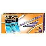 BIC Round Stic Grip Xtra Comfort Ballpoint Pen, Medium Point (1.2mm), Purple, 12-Count