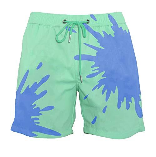 TIDE TREND Herren Farbwechselnde Badehose Schnelltrocknende Badeshorts Männer Temperaturempfindliche Farbwechsel Beachshorts