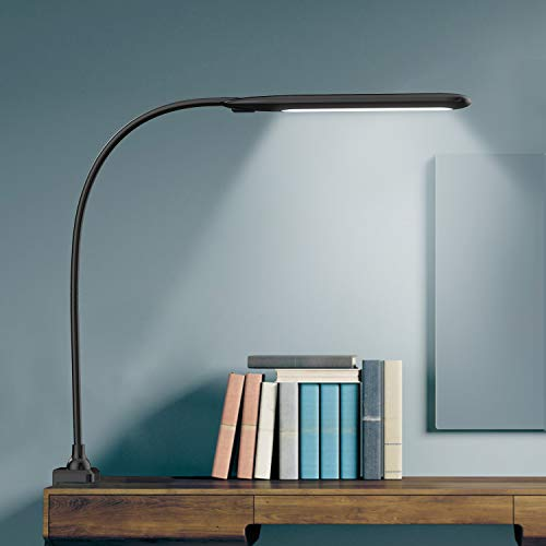 LED Desk Lamp with Clamp,Flexible Gooseneck Clamp Lamp,Dimmable,Touch Control 3 Color Modes,Eye-Care Table Light with Adjustable Arm,Architect Lamp for Home/ Office /Workbench/Reading Working