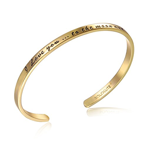 Solocute Gold Damen Armband mit Gravur I Love You to The Moon and Back Inspiration Frauen Armreif Schmuck