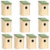 vidaXL 10x Madera Maciza de Abeto Casa para Pájaros Pajarera Caja de Anidación Jaula Aviario Pajarería Jardín Suministro Aves Balcón Patio Terraza