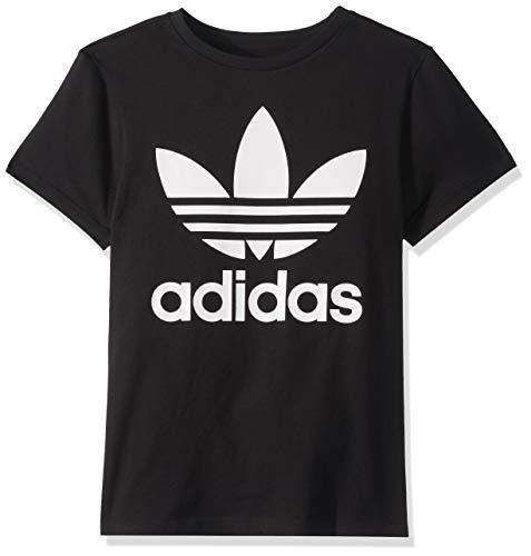 adidas Originals unisex-youth Trefoil Tee Black/White Medium