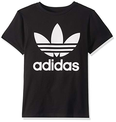 adidas Originals unisex-youth Trefoil Tee Black/White Large