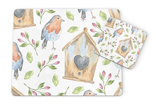 Aquarell-Rotkehlchen & Vogelhaus Blumen Vögel Muster 1 Tischset und 1 Untersetzer Set