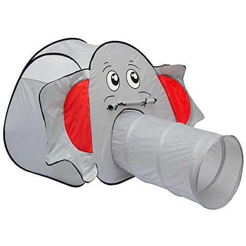 LittleTom Tienda de campaña en Forma de Elefante 100x100x102cm con Túnel Gris