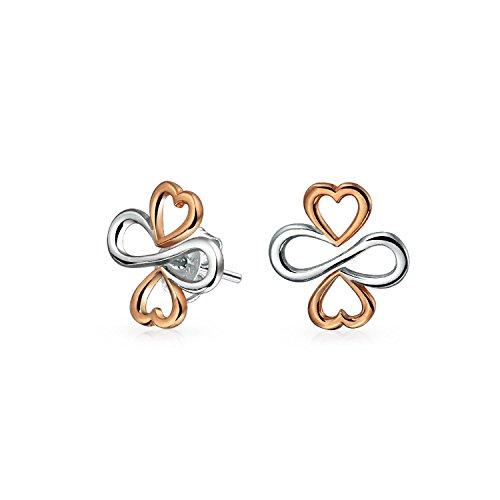 Ayllu Símbolo Corazón Infinito Trébol para el amor suerte Unity Pendientes para las mujeres de dos tonos rosa oro chapado plata de ley