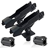 AGOOL Fishing Boat Rods Holder 360 Degree Rotation Adjustable Fishing Pole Rod Racks with Large Clamp Folding Holder (RH40 Multi-Positional Mounting 2pcs)