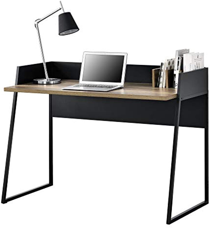 [en.casa] Schreibtisch mit Kabeldurchlass und Buchablage 120x60x90 cm Bürotisch Computertisch Arbeitstisch PC Tisch