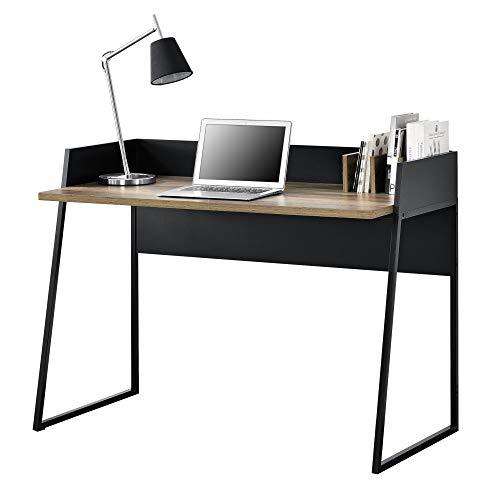[en.casa]] Mesa Escritorio con 3 Compartimientos 120 x 60 x 90 cm Mesa Despacho para Computadora Negro y Apariencia de Madera