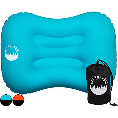 Off the Grid Inflatable Camping Travel Pillow for Ultralight Backpacking - Pillow for Sleeping with Ergonomic, Waterproof, Compressible, and Compact Design for Lumbar and Neck Support (Blue)