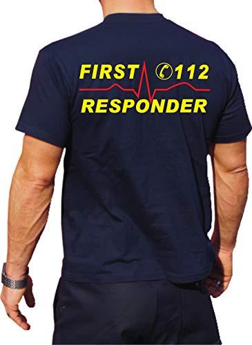 T-Shirt First Responder avec numéro d'appel d'urgence et du Rythme Cardiaque – Jaune Fluo/Rouge, des Deux côtés L Bleu Marine