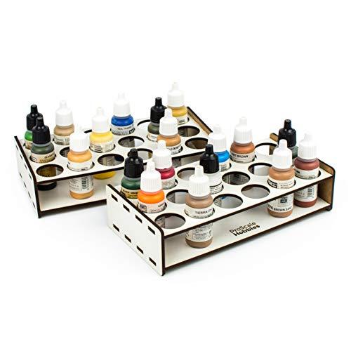 PROSCALE Soporte organizador pinturas miniaturas modelismo. Kit mesa de trabajo vallejo bote pinturas pinceles vallejo acrilico miniaturas warhammer modelismo maquetas (26 mm)