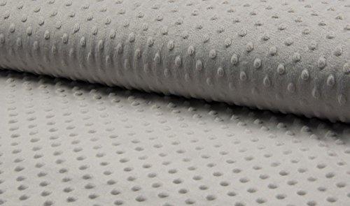 Tissu Velboa super doux en polaire à pois - 150 cm de large - 7 couleurs au choix (vendu au mètre) (Gris)