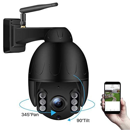 WiFi IP Camera, Outdoor Mini Wireless PTZ 5X Optical Zoom 1080P Speed Dome Camera IP66 Waterproof P2P 50M Night Vision Surveillance,Black