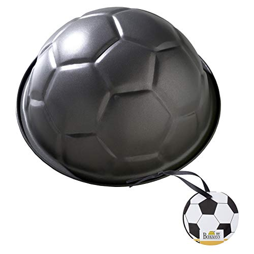 RBV Birkmann, 212220, Motivbackform Fußball, Ø 22,5 cm, mit Antihaftbeschichtung, Stahl, grau, 4 x 4 x 5 cm