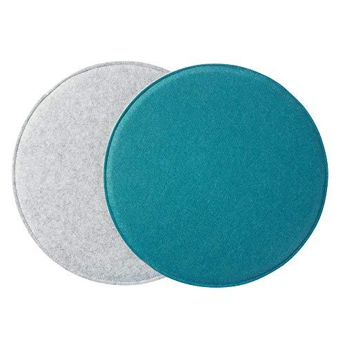 Gepolstertes Stuhlkissen 'ø34cm' zweifarbig, Aqua/hellgrau (Farbe & Form wählbar) | Rundes Sitzkissen aus Filz (2er Set)