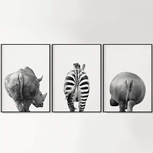 YDHP Lustige Kunstdruck Safari Tiere Hintern Zebra Schwarz Weiß Leinwand Malerei Wandbilder Home Decor-30x40cmx3 STK. Kein Rahmen
