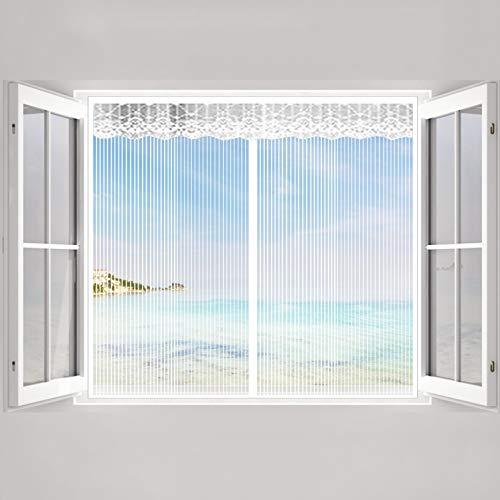 COUEO Insektenschutzvorhang 110x140cm(43x55inch) Vorhang Der Magnetvorhang Automatisches Schließen Smart Selbstbausatz für Fenster, Weiß A