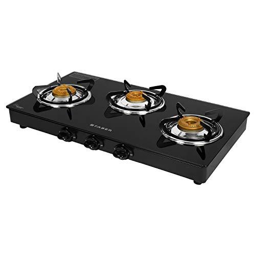 Faber Manual Ignition 3 Burner Glass Cooktop (Power 3BB BK) - Black