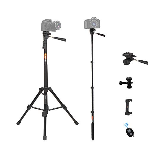 Tripod for Camera and Phone Monopod with Remote Action Camera Mount Adapter Small Flexible Travel Selfi Stick Tripod Stand Aluminum for DSLR Projector Camcorder, iPhone Android Phone by BESNFOTO