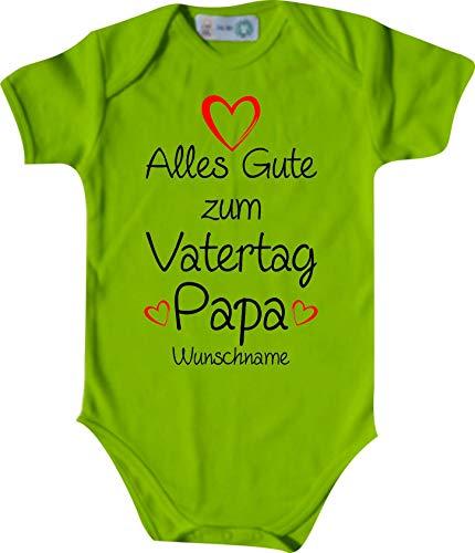 Shirtinstyle Body Todo Buena para Día del Padre Papa Solicitud Nombre Name Texto, Manga Corta Body de Bebé, Bebé, Nacimiento, Bautizo, Pelele - Lima, 62-68