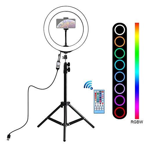 KINJOHI LED Ringlicht Ringleuchte Set Dimmbar 10 Zoll LED-Ringlicht mit Lichtstand & Phonehalterung & Fernbedienung für YouTube Self-Porträt der Videoaufnahme, Portraitfotografie, Live-übertragung