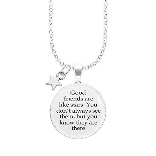 Spruchketten BY LIEBLICHKEITEN Nickelfreie Kette 80 cm mit Anhänger Spruch in 2,5cm großer Glaslinse: Good Friends Are Like Stars. You Don´t Always See Them, but You Know They Are There